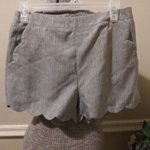 NWT Love Riche Gray Scalloped Shorts